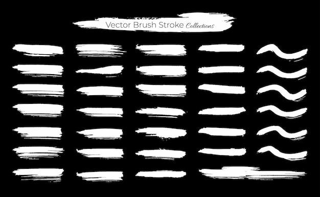 Conjunto grande de coleções de modelos de pinceladas grunge Vetor Premium
