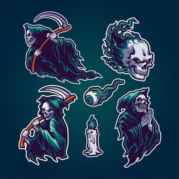 Conjunto grim reaper Vetor Premium