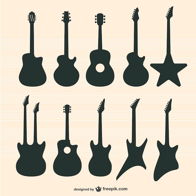 Conjunto guitarras vector Vetor grátis
