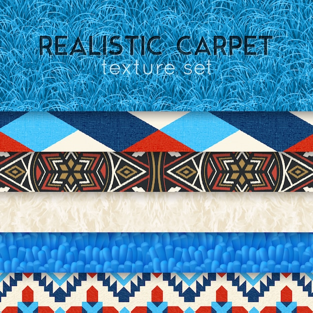 Conjunto horizontal realista de textura de tapete Vetor grátis
