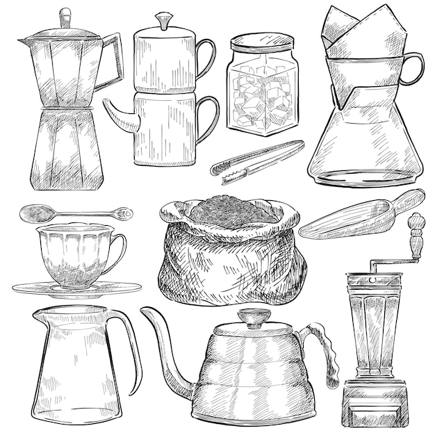 Conjunto ilustrado de ferramentas para fazer café Vetor grátis