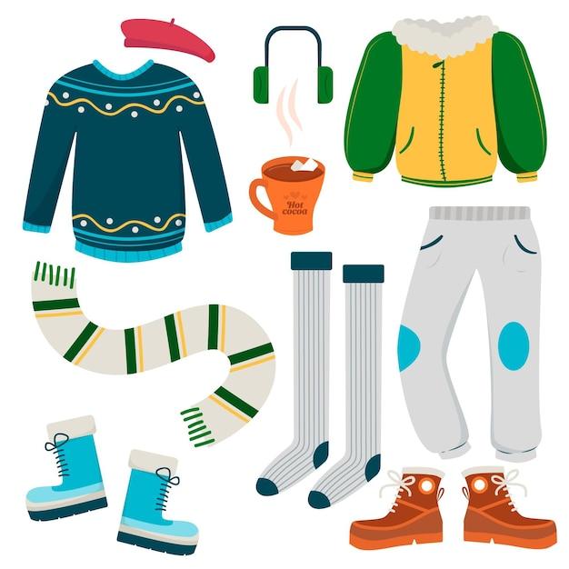 Conjunto ilustrado de roupas de inverno Vetor grátis
