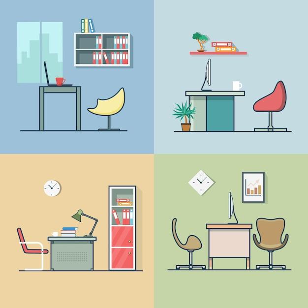 Conjunto interior interior de cadeira de mesa de local de trabalho do quarto escritório contorno de traço multicolorido linear plano Vetor grátis