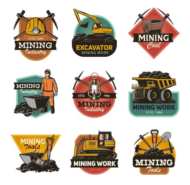 Conjunto isolado da indústria de mineração de carvão ferramentas de máquinas e equipamentos de mineração para mineração. Vetor Premium
