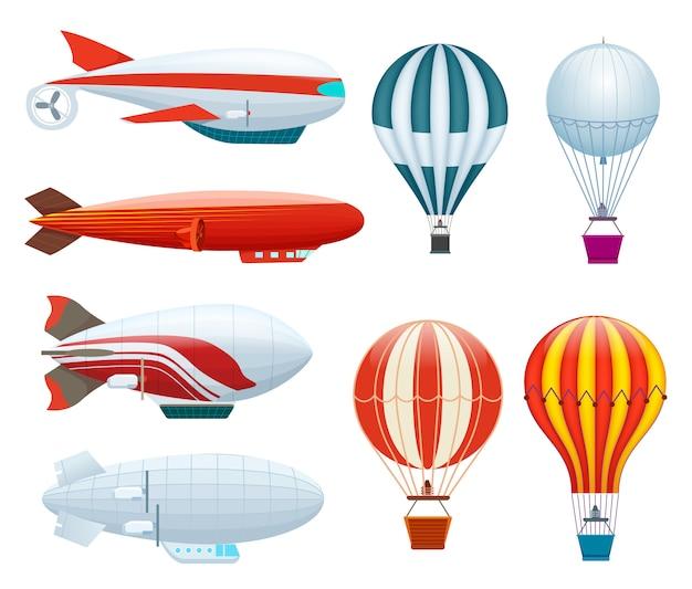 Conjunto isolado de balão de ar quente Vetor Premium