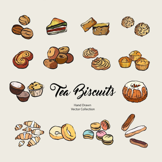 Conjunto isolado de biscoitos mão desenhada Vetor Premium