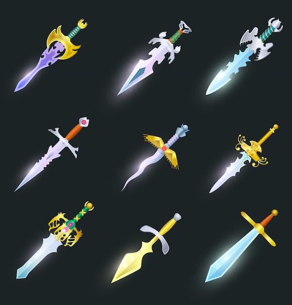 Conjunto isolado de espadas mágicas Vetor Premium