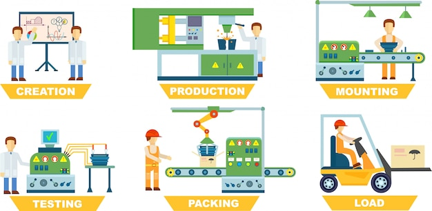 Conjunto isolado de fabricação industrial Vetor Premium