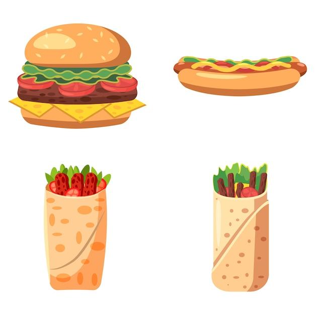 Conjunto isolado de fast-food. conjunto de desenhos animados de fast food Vetor Premium