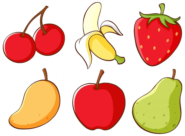 Conjunto isolado de frutas Vetor grátis