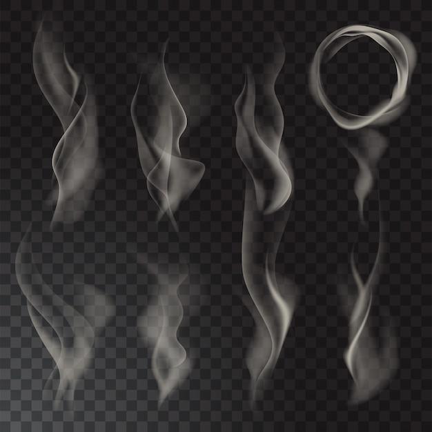 Conjunto isolado de fumaça. Vetor Premium