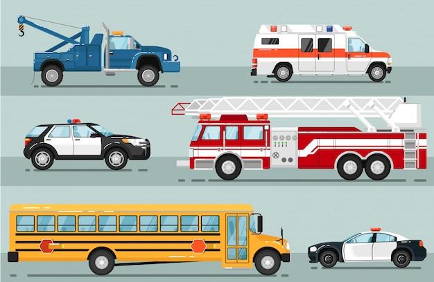 Conjunto isolado de transporte de emergência da cidade Vetor Premium