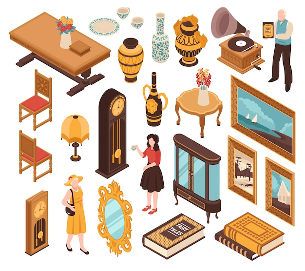 Conjunto isométrico antiquário de móveis vintage, marcando relógios velhos livros e itens para o interior de casa isolado Vetor grátis