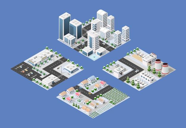 Conjunto isométrico da cidade moderna Vetor Premium