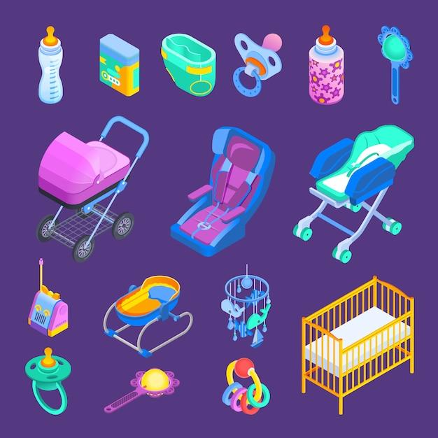 Conjunto isométrico de acessórios de bebê Vetor grátis