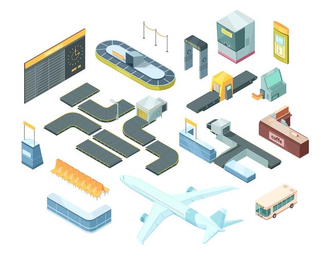 Conjunto isométrico de aeroporto Vetor grátis