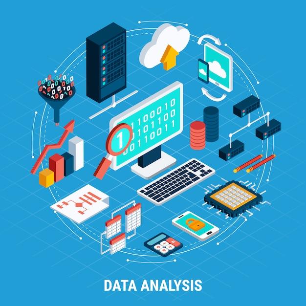 Conjunto isométrico de análise de dados Vetor grátis