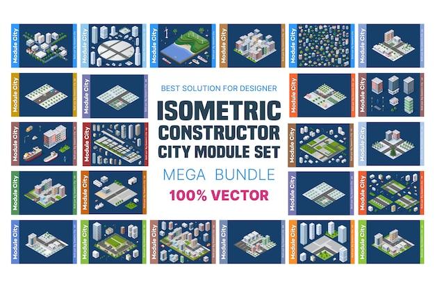 Conjunto isométrico de blocos Vetor Premium