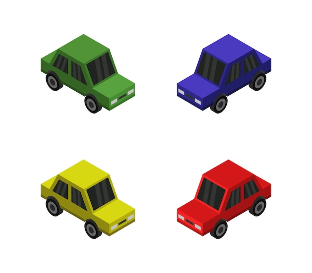 Conjunto isométrico de carro Vetor Premium