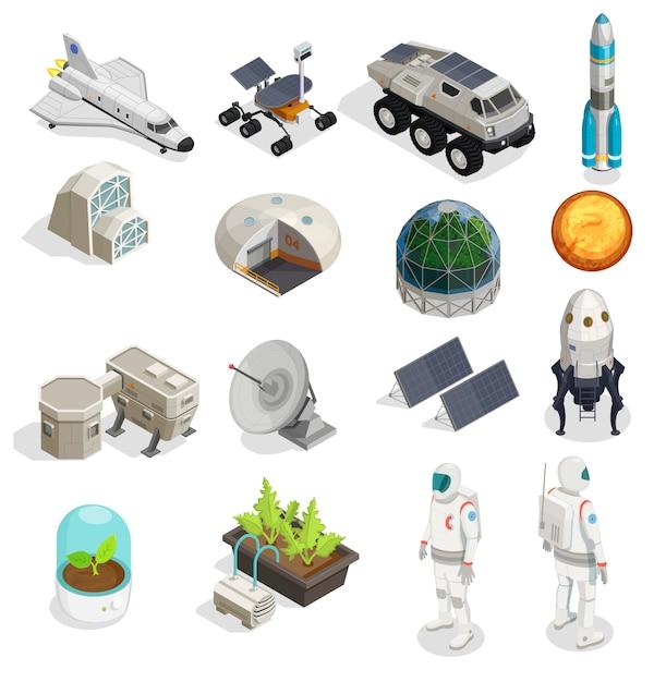 Conjunto isométrico de colonização de marte de astronautas em trajes espaciais rover explorer foguete espacial satélite elementos do painel solar Vetor grátis