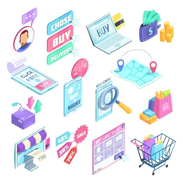 Conjunto isométrico de compras pela internet Vetor grátis