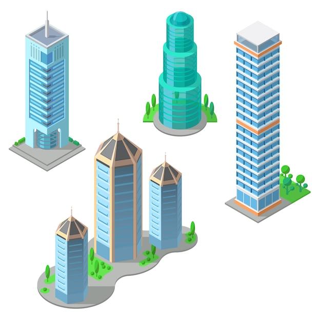 Conjunto isométrico de edifícios modernos, arranha-céus urbanos, altas torres de negócios Vetor grátis