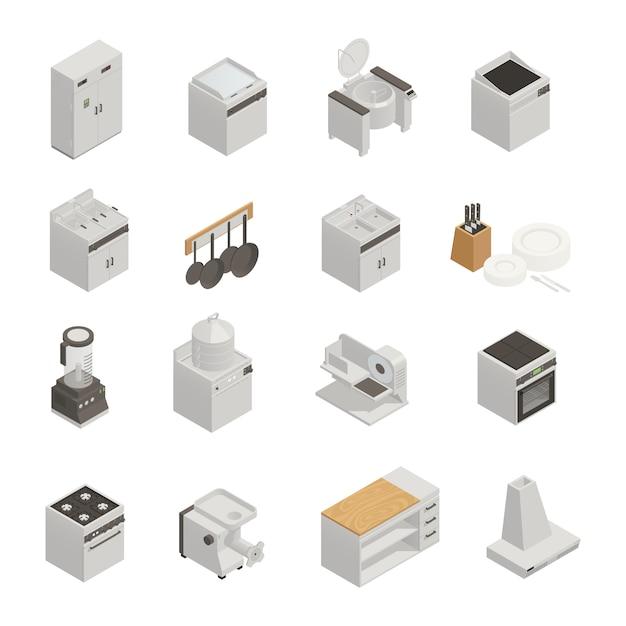 Conjunto isométrico de equipamentos de cozinha Vetor grátis