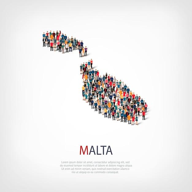 Conjunto isométrico de estilos, pessoas, mapa de malta, país, conceito de infográficos da web de espaço lotado. grupo de ponto de multidão formando uma forma predeterminada. pessoas criativas. Vetor Premium