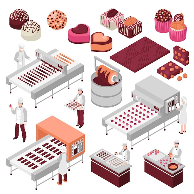 Conjunto isométrico de fabricação de chocolate de linhas de fábrica automatizadas de produção de alimentos doces e funcionários que fazem doces Vetor grátis