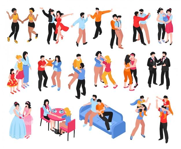 Conjunto isométrico de ícones com casais de gays e lésbicas homossexuais e famílias com crianças isoladas em branco 3d Vetor grátis
