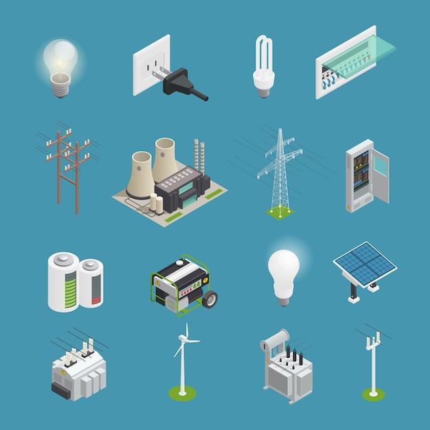 Conjunto isométrico de ícones de energia Vetor grátis