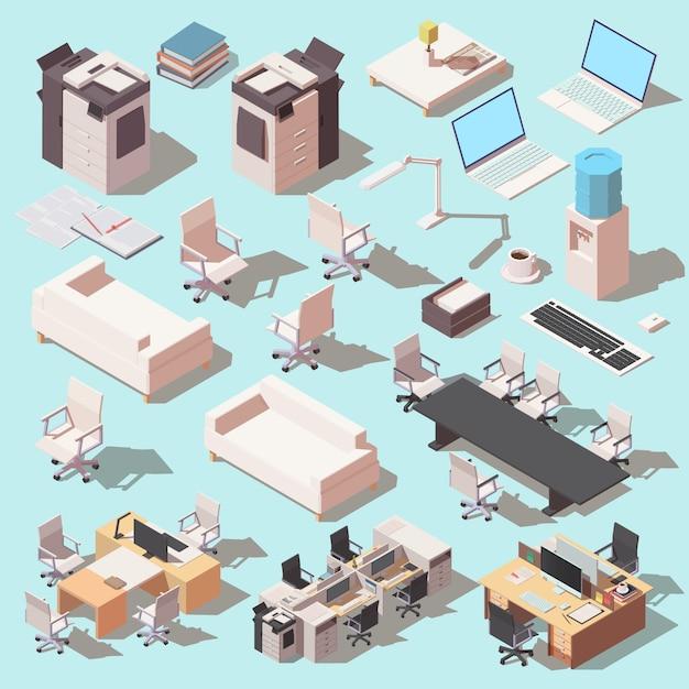 Conjunto isométrico de ícones de mobiliário e equipamento de escritório. Vetor Premium