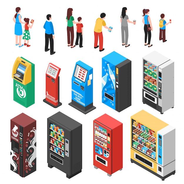 Conjunto isométrico de máquinas de venda automática Vetor grátis