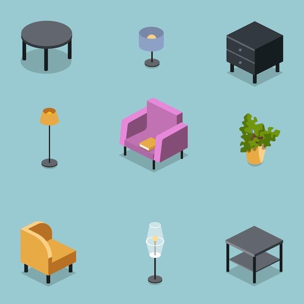 Conjunto isométrico de mobília da sala de estar Vetor Premium