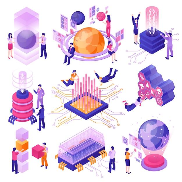 Conjunto isométrico de modernas tecnologias do futuro Vetor grátis