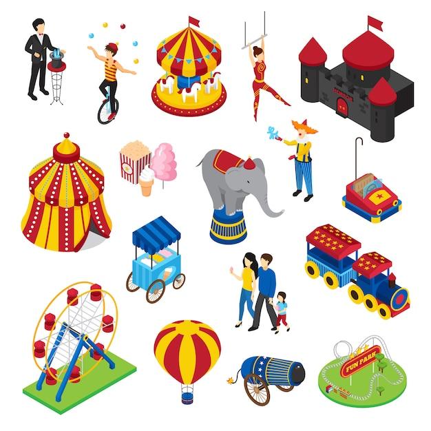 Conjunto isométrico de parque de diversões Vetor grátis