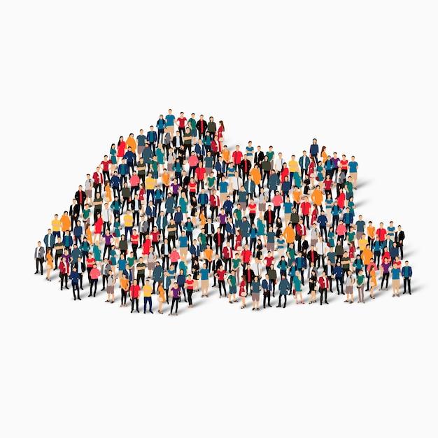 Conjunto isométrico de pessoas formando mapa do butão Vetor Premium