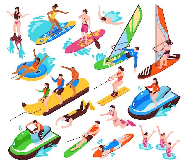 Conjunto isométrico de recreação ativa de água de verão, como banana boat surf windsurf jet ski flyboard isolado Vetor grátis