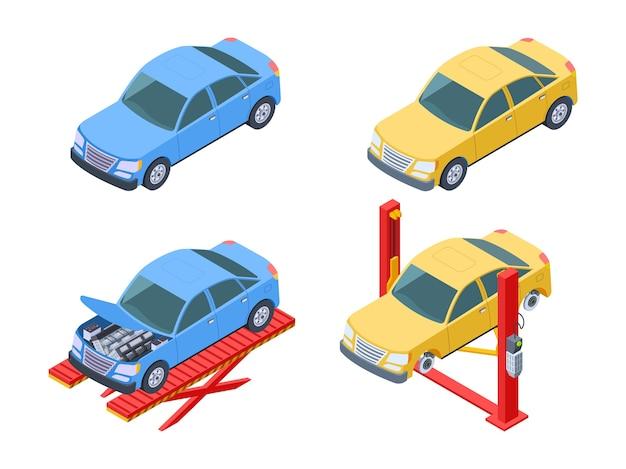 Conjunto isométrico de reparação de automóveis Vetor Premium
