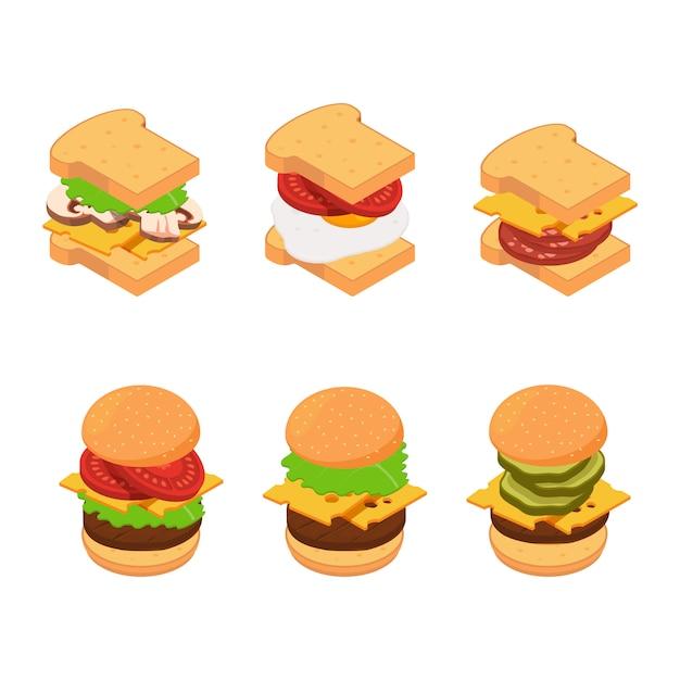 Conjunto isométrico de tipos de hambúrguer e sanduíche Vetor Premium