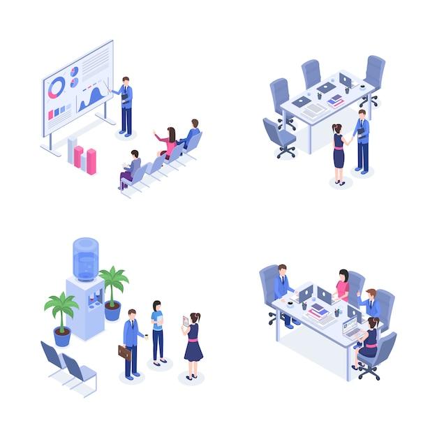 Conjunto isométrico de trabalho em equipe. Vetor Premium