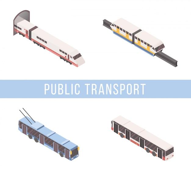 Conjunto isométrico de transporte público Vetor Premium