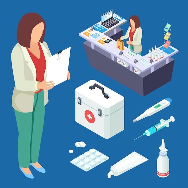 Conjunto isométrico de vetor de farmácia. farmacêutico no trabalho, drogas e primeiros socorros ilustração infantil Vetor Premium