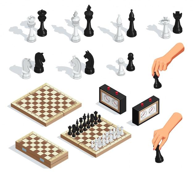 Conjunto isométrico de xadrez Vetor grátis