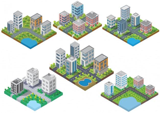 Conjunto isométrico edifício vector. eles estão no quintal, rio com estrada. edifício 3d, cidade inteligente Vetor Premium