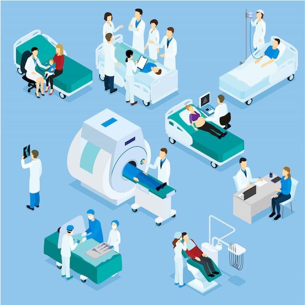 Conjunto isométrico médico e paciente Vetor grátis