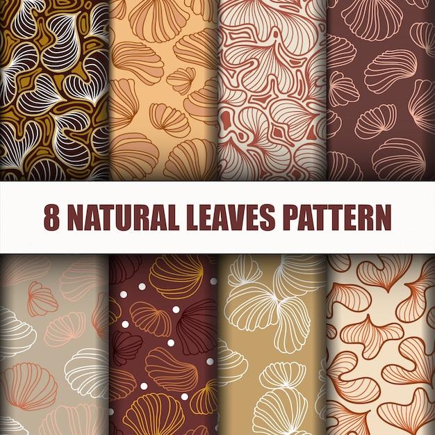 Conjunto lindo padrão de folhas Vetor Premium