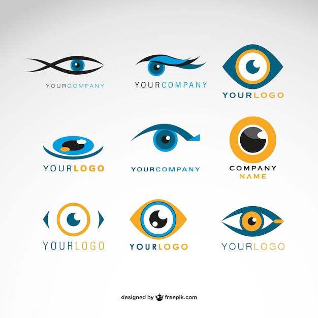 Conjunto logotipos olhos vector Vetor Premium