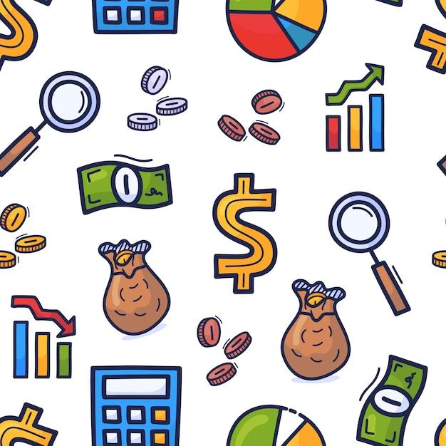 Conjunto mão desenhada doodle padrão sem emenda sobre o tema dos negócios. dinheiro de estilo colorido dos desenhos animados ou padrão de negócios Vetor Premium