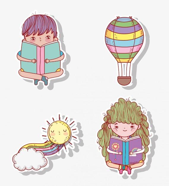 Conjunto menino e menina ler livro com balão de ar Vetor Premium